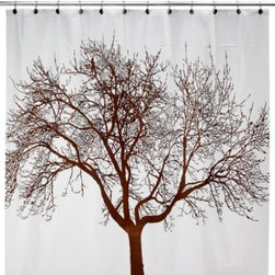 Splash Home - Mocha Tree 70-Inch W x 72-Inch L Vinyl Shower Curtain - A beautifully detailed silhouette of a tree in a rich mocha takes center stage on this splendid shower curtain. PVC-free.