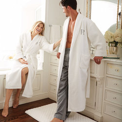 Frontgate - Men's Spa Terry Robe - Choose from White, Fog, or Driftwood. Features a belted waist and front pockets. Waffle-knit weave shell; 280 gm2, 50% Cotton 50% Poly. Turkish terry lining; 300 gm2, 100% Cotton-hydrocotton. Monogram available on the upper left chest. Imagine the pampered feeling of being a guest at a resort spa, and you will get a sense of how it feels to be wrapped up in our Spa Terry Robe. Plush, waffle-knit cotton is lined with 100% cotton terry that caresses the skin while wicking away moisture.  .  .  .  .  . Arrives in an elegant gift box. Please note, personalized items are nonreturnable.