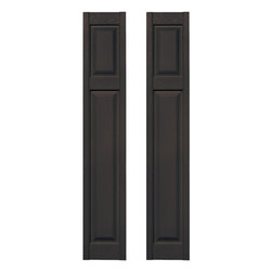 Builders Edge - Cottage Style Raised Panel Shutters in Musket - Choose Size: 12 in. W x 1 in. D x 67 in. H (9.4 lbs.)Color matching Shutter-LOK fasteners included. Constructed with color molded-through vinyl so they will not scratch, flake, or fade. Durable, maintenance-free U.V. stabilized, deep wood grain texture. Made in the USA