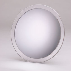 """Jerdon - Portable 5x Suction Shower Mirror - The Portable Suction Shower Mirror is an ideal bathroom and makeup accessory that can be taken on all your journeys, helping you maintain your look wherever you go. This smart travel mirror features an economical design that makes it easy to store and mount anywhere you please with three large suction cups. The comes with a clear vinyl travel case to protect its surface, making it easy to stow in suitcases, handbags and storage bins while youre on the go. Simply apply light pressure and attach this mirror to most walls wherever you go, but is not intended for use in showers. The features an attractive acrylic and chrome finish that is aesthetically charming and works with any decor. Features: -Comes with clear vinyl travel case. -5x magnification. -Finish: Chrome. -Easily attaches to any flat surface with 3 suction cups by applying light pressure. -Manufacturer provides 1 year limited warranty. Dimensions: -Mirror Diameter: 9"""". -Overall Dimensions: 9"""" H x 9"""" W x 1.25"""" D, 0.55 lb."""