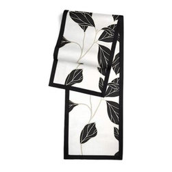 Black & White Modern Leaf Custom Table Runner - Set a table for a king! or just your family and friends!! with our gorgeous Tailored Table Runner. Solid edging adds a touch of refinement, perfectly setting off the center fabric. We love it in this black and white leaf motif with graphic modern flare.