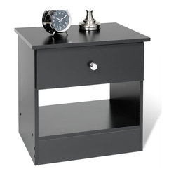 Prepac - Prepac Black Sonoma One Drawer Black Night Stand - Prepac - Nightstands - BEP20201 - The practical and function-before-flair designation of the One Drawer Night Stand with it's clean lines and classic shape will blend perfectly into almost any decor and provide for your bedside needs more than adequately. It features a rich black finish drop-bail hardware and a deep bottom drawer and open compartment to appeal to both your style and budget consciences.