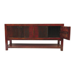 Susanna Rustic Red 4 Door Tall Sideboard with Bottom Shelf - Our collection of sideboards are built of beautiful elm wood reclaimed from buildings and furniture pieces that graced the eclectic Qing dynasty. Each piece is meticulously hand built and finished by time-honored craftsman utilizing over 120 different processes. A gorgeous addition to your living room, stunning under your flat panel television, or for extra storage, this sideboard is sure to make a statement.