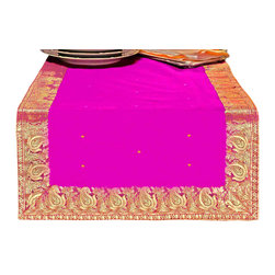 Indian Selections - Hand Crafted Violet Red Table Runner, 16 X 108 Inches - Fabric: Poly Art Silk Sari fabric