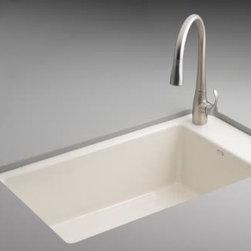KOHLER - KOHLER K-6410-1-0 Indio Undercounter Single Basin Sink - KOHLER K-6410-1-0 Indio Undercounter Single Basin Sink with Single-Hole Faucet Drilling in White