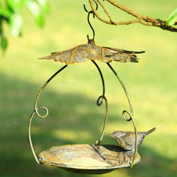 "Sparrow and Leaf Bird Feeder - This line of extraordinary treasures features distinctive decorative wares that are sure to find a perfect place in your heart and home and garden. Dimensions: 10.5""w x 8.5""d x 14.5""h"