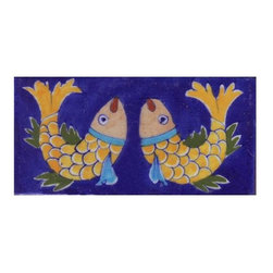 """Potteryville - Tiles 3X6""""Inch, Two Yellow, Brown, Green, Turquoise Fish With Blue Base - Two Yellow, Brown, Green, Turquoise Fish with Blue Base Tile from    Jaipur, India. Unique, hand painted tiles for your kitchen or other    tiling project. Tile is 3x6"""" in size."""