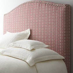 "Horchow - Pasadena King Headboard - Gentle curves, bold color, and decorative nailhead trim make this headboard a stunning complement to any bedroom grouping. Frame made of select hardwoods. Acrylic/polyester/cotton upholstery. Pewter nailhead trim. Twin headboard, 42""W x 3""D x 56""T....."