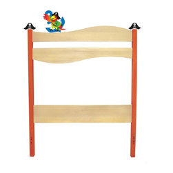 Pirate Pals Twin Headboard - A playful Parrot perches on the natural wave of our adorable Pirate Pals twin headboard, made of solid hardwood with a natural finish and red bedposts. Includes wave shaped headboard and set of pirate hats and parrot finials.