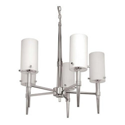 Nuvo Lighting - Nuvo Lighting 60/3865 Five Light Up Lighting Chandelier Jet Collection - *Five light up lighting chandelier featuring white opal glass shades