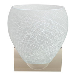 Besa Lighting - Besa Lighting 1WZ-412260-CR Bolla Cocoon Chrome One Light Wall Sconce - The Bolla is a compact handcrafted glass, softly radiused to fit gracefully into contemporary spaces. Our Cocoon glass is a frosted glass with interesting threads of opaque white swirling throughout. This dEcor is full of textured and creates a point of interest to any room. When lit this glass features a dimensional effect from the whites lines that are interlaced at various levels. The smooth satin finish on the clear outer layer is a result of an extensive etching process, with the texture of the subtle brushing. This blown glass is handcrafted by a skilled artisan, utilizing century-old techniques passed down from generation to generation. Each piece of this dEcor has its own artistic nature that can be individually appreciated The minisconce fixture is equipped with a sleek arcing diecast lampholder and matching radiused rectangular canopy. These stylish and functional luminaries are offered in a beautiful Chrome finish.