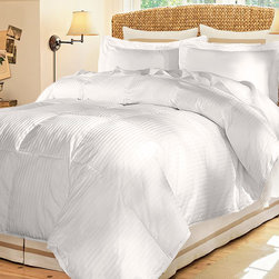 None - Damask Stripe 600 Fill Medium Warmth White Down Comforter - Sleep more soundly with this plush white down comforter. This extra-soft comforter has a 290-thread-count microfiber cover and a fill power of 600 for medium firmness. It can be used on a queen or king-size bed and has a medium warmth rating.
