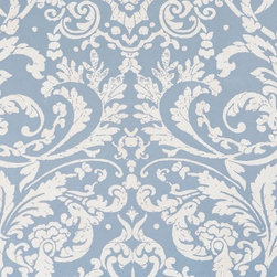 Walls Republic - Luscious Powder Blue Ornamental Wallpaper, Double Roll - Luscious is a medium scale damask pattern layered with fine lace detailing. Use it in any space to create a warm traditional atmosphere.