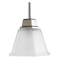 Progress Lighting - Progress Lighting P5135-09 One-Light Mini-Pendant With Etched Glass - One-light mini-pendant with clean linear forms, twin arching arms and square etched glass. Creates a modern interpretation of two blended styles: Craftsman and Mission.