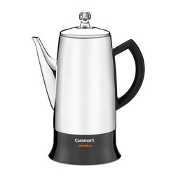 Frontgate - Cuisinart Classic 12-cup Percolater - Conveniently designed for 4-12 cups. Long, tapered, precision no-drip spout pours without a spill. Sits safely on any surface without scarring. Ready indicator light shows when coffee is ready. 3-year warranty. There's a reason it's a classic. With its familiar stainless steel design, piping hot water percolates through the grounds and pulses up into the transparent knob on top, letting you know your perfect cup of coffee is ready. A detachable cord and stay-cool bottom mean it can go anywhere to serve—it only needs to be plugged in to stay hot.  .  .  .  .  . Detachable cord .
