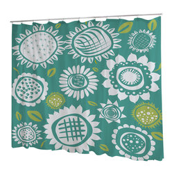 Uneekee - Uneekee Vibrant Flowers Shower Curtain - Your shower will start singing to you and thanking you for such a glorious burst of design as you start your day!  Full printing on the front and white on the back.  Buttonhole openings for shower rings.