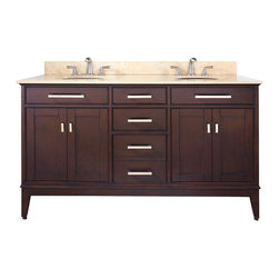 Avanity - Madison 60 Vanity Combo Light Espresso, Gala Beige Marble Top - The Madison 60 in. vanity combines function with style. The vanity is designed with strong attractive lines and finished in Light Espresso with brushed nickel hardware. It is constructed of solid Poplar wood and veneer with soft-close door hinges and drawer glides. The vanity comes with a black granite top and dual undermount sinks. Also available is a matching mirror, mirror storage cabinet and linen tower to complete your bathroom.