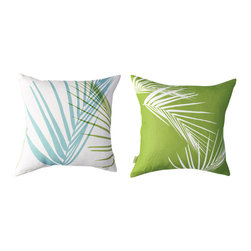 Kaypee Soh - Palm Pillow - Multi - Inspired by the sunny, swaying palms of the tropics, this all time classic motif draws on feelings of relaxation and tropical bliss.