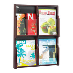 Safco - Safco Expose 4 Magazine 8 Pamphlet in Mahogany Finish - Safco - Magazine Racks - 5704MH - Expose™ natural beauty and aid curiosity! Customize any unit with your choice of two wood finishes. Crystal clear plastic front panel provides a full view of materials in each pocket. Pre-drilled holes screws and anchors included for easy mounting. Decorative screw covers to match masonite backing are included. Removable dividers allow you to use each compartment to display a magazine or two pamphlets. Spark a natural instinct with exposure.