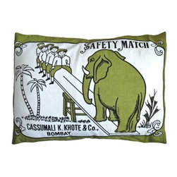 Koko Company Match Elephant Swing Pillow Sham - The Koko Company Match Elephant Swing Decorative Pillow sure is hot stuff. After all it's modeled after an antique Indian matchbox and features a cartoon elephant playing teeter totter with some brave souls. The olive black and white color scheme adds a neutral allure that's anything but dull while the cotton construction means this decorative pillow's cover is machine washable. Gentle cycle and cold water temperature is recommended.About The Koko CompanyFor over 10 years The Koko Company has been pouring heart and soul into bringing you a vibrant diverse collection of pieces to suit your unique style. From pillows and bedding to rugs and throws every piece is both versatile and distinctive each playing its own part in a grander global vision. Located in Long Island City NY but influenced and inspired by an array of cultures and fashions The Koko Company strives to bring the subtle elegance of natural fibers and organic design to your home accents.