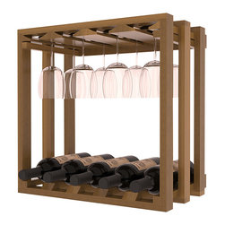 Wine Storage Lattice Stemware Cube in Redwood with Oak Stain + Satin Finish - Designed to stack one on top of the other for space-saving wine storage our stacking cubes are ideal for an expanding collection. Use as a stand alone rack in your kitchen or living space or pair with the 20 Bottle X-Cube Wine Rack and/or the 16-Bottle Cubicle Rack for flexible storage.