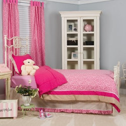 Tabby Cheetah Bedding Set - Rawr! Pink cheetah print is what every feisty little princess needs for her bedroom palace and the Tabby Cheetah Bedding Set is simply perfect. The set includes a soft durable cotton/poly blend quilt coordinating bedskirt and shams. Each piece is decked out in a punchy pink palette featuring cheetah print polka dots and beige stripes. So pretty and fun! You can even let her switch it up from time to time - the quilt reverses to a bright pink polka dot pattern! Set is machine-washable so no worries. Choose from the available size options. About Pam Grace CreationsPam Grace Creations was created by Pam Val a loving wife and mother of four in January of 2006. Pam had seven years of experience in the baby bedding and nursery decor industry from working with her sister to run their own baby product business. She brought this experience and knowledge of the industry to her own company and Pam Grace Creations was born. Pam is committed to providing new parents a combination of style affordability and convenience and to that end she created her Nursery-to-Go 10-piece baby bedding sets. These sets include everything parents need to outfit their new baby's room in a range of styles and color palettes at an affordable price--without having to hunt down their nursery items piece by piece.