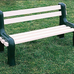 Fifthroom - Vinyl Park Bench - With our Vinyl Park Bench, you can have the same quality and durability of a public park bench in your own backyard. Its legs are hollow and can be filled with sand, and its rugged construction from Vinyl makes it virtually indestructible, even if it's left outside all year round.  With a sleek, contemporary design, this bench will make a stylish addition to your porch, patio, deck, or gazebo, or you can use it in a park.