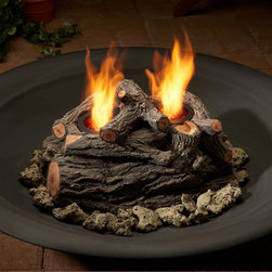 Real Flame - 2-Can Outdoor Log Set in Oak - Made from hand-painted cast concrete.. Comes complete with log set and decorative lava rock.. Uses Only Real Flame 13oz Gel Fuel Cans, not included. 15 in. W x 10 in. D x 8 in. H (25 lbs.)Convert your existing outdoor firepit or fireplace to a Real Flame gel burning fire. Enjoy an outdoor fire without smelling like one. Comes complete with lava rock and a lift tool. Will burn up to two cans of Real Flame gel fuel.