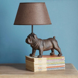Peter Pug Lamp - A pooch that'll stay when you ask him to! This playful lamp would look adorable as a pair on two end tables, or one would be a sweet touch on your foyer's console table.