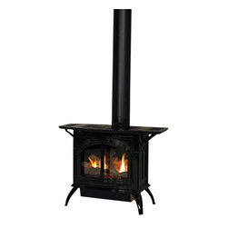 Empire - Heritage Cast Iron Porcelain Black Stove DVP30CC70BN - Natural Gas - Heritage Direct-Vent Cast Iron Stove with 27000 BTU Slope Glaze Burner with Intermittent Pilot Ignition. The Intermittent Pilot system lights a standing pilot with a push button igniter. Once the pilot is lit, the system operates with an on/off switch concealed at the back of the burner or with an optional remote control. With a standing pilot, you can operate this unit during a power outage. This medium stove is rated at 27000 BTUs and stands just over three feet tall. The richly detailed casting features fully operable decorative cast iron doors on durable lift-pin hinges that swing open 180 degrees.