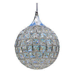 Lightupmyhome - Round Globe Chrome Crystal Chandelier Pendant - This beautiful round crystal pendant will light up your home from every angle.
