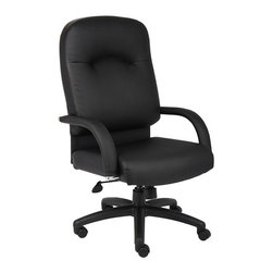 BossChair - Boss High Back Caressoft Chair in Black with Knee Tilt - Beautifully upholstered with ultra soft and durable Caressoft upholstery. Executive High Back styling with extra lumbar support. Padded armrests covered with Caressoft upholstery. Solid 27 nylon base with casters. Hooded double wheel casters. Upright locking position. Pneumatic gas lift provides instant seat height adjustment. Adjustable tilt tension control. Comes standard with knee-tilt mechanism. Matching guest chair with cantilever base (B7409).