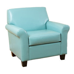 Great Deal Furniture - Addison Ocean Blue Leather Club Chair - If you are looking to step away from traditional club chairs and buy something with both class and a contemporary flair, then our Addison Ocean Blue Leather Club Chair is the piece for you. Sink into this comfortable chair, made of soft, durable leather with a sturdy real wood frame that will mesh beautifully with any decor, in any room. The beautiful, eye-catching leather upholstery and modern twist on a classic look is sure to be the perfect chair for your living room, dining room, office, or study.