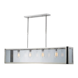 ELK - ELK 31213/4 Billiard/Island - This Series Showcases A Minimalist Angular Design With A Modern-Traditionalist Edge. Polished Nickel Metal Framework Elegantly Displays The Clear Glass Panels While Optional Filament Bulbs Offer A Decorative Focal Point To The Functional Aspects Of The Series.