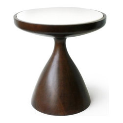"""Jonathan Adler - Buenos Aires End Table - Warm Modernism. Sinuous modern lines, rich materials, diminutive scale--the perfect solution for any end table need. Features: -Material: Turned walnut, Alabaster top. -Handmade construction. Specifications: -Short dimensions: 15.5"""" H x 15"""" W x 15"""" D. -Tall dimensions: 22"""" H x 12"""" W x 12"""" D."""