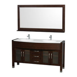 Wyndham Collection - 60 in. Double Sink Bathroom Vanity Set - Includes two sinks, white man-made stone top, matching mirror, drain and P-traps for easy assembly. Faucets not included. White integral sinks. Unique and striking contemporary design. Four doors and three drawers. Fully extending side-mount drawer slides. Deep doweled drawers. Doors with fully framed glass inserts and back paneling. Soft-close concealed door hinges. Single-hole faucet mount. Metal hardware with brushed chrome finish. Plenty of storage space. Brushed steel leg accents. Practical floor-standing design. Twelve-stage wood preparation, sanding, painting and finishing process. Highly water-resistant low V.O.C. sealed finish. Pre-drilled for single-hole faucet. Top thickness: 0.75 in.. Warranty: Two years limited. Made from environmentally friendly, zero emissions solid oak hardwood. Espresso finish. Minimal assembly required. Door: 11 in. W x 18 in. H. Drawer: 11 in. W x 6 in. H. Mirror shelf: 5 in. deep. Mirror: 60 in. W x 32 in. H (58 lbs.). Vanity: 60 in. W x 22 in. D x 33.5 in. H (150 lbs.). Handling Instructions. Installation Instructions - Vanity