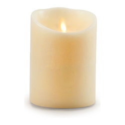 """Balsam Hill - 5"""" x 4"""" Battery Operated Pillar Candle Small - Balsam Hill® 5"""" x 4"""" Battery Operated Pillar Candles bring a comforting glow to your home with safety and convenience. Made from real paraffin wax, these pillar candles are realistic with a modern twist. They feature innovative Luminara lighting technology, a combination of magnets and highly focused LED lights, to mimic the soft flickering of real flames with a lifelike gold tint. They also have a timer functionality and a universal remote control for utmost convenience. Bring light to the dark corners of your home with the soft glow of our Flameless Battery-Operated Pillar Candles."""