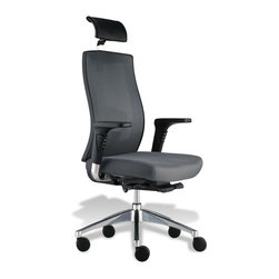 Jesper Office Furniture - Trina Office Chair -Grey Mesh/Fabric - Features: