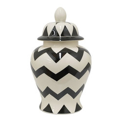 Home Decorators Collection - Zig Zag Temple Jar - Our white ceramic Zig Zag Temple Jar is covered in fun zigzag and triangular patterns. The fun pattern plus the jar's glossy finish make it stand out in a room. Includes removable lid. Not food safe.