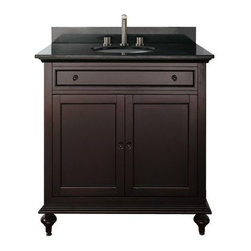 Avanity Merlot 30-in. Single Bathroom Vanity with Optional Mirror - The Avanity Merlot 30-in. Single Bathroom Vanity with Optional Mirror is a classic piece that doesn't skimp on storage. A large stone countertop (available in your choice of beige marble, black granite, or white marble) and an interior shelf hidden behind two soft-close doors (with black brass hardware) provide you with all the space you'll ever need for your bathroom linens and toiletries. The countertop comes pre-fitted for a single faucet (not included). The cabinet base is made from solid birch and given a smart, dark espresso finish to complete this piece's unique look. Adjustable height levelers are included for uneven floors. This piece comes with an option of a 24- or 30-inch mirror (Dimensions: 24W x 2.2D x 33H inches; 30W x 2.3D x 33H inches respectively) with matching birch-and-espresso finish, or no mirror at all.About Avanity CorporationAvanity's goal has always been to provide the public with the best products possible at the fairest prices. To this end, their customer service style is about listening to their customer, not just hearing them. Avanity is confident in their products, ensuring each of them has a one-year manufacturer's warranty. Avanity also takes note of increasing market trends to stay ahead of the game and provide the most cutting-edge products available.