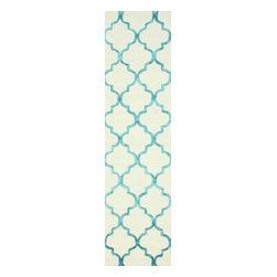 nuLOOM - nuLOOM Handmade Moroccan Trellis Faux Silk Wool Rug , Turquoise, (2.6' X 8') - Material: 75% Wool, 25% Viscose