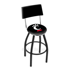 Holland Bar Stool - Holland Bar Stool L8B4 - Black Wrinkle Cincinnati Swivel Bar Stool - L8B4 - Black Wrinkle Cincinnati Swivel Bar Stool w/ Back belongs to College Collection by Holland Bar Stool Made for the ultimate sports fan, impress your buddies with this knockout from Holland Bar Stool. This contemporary L8B4 logo stool has a black wrinkle single-ring base and a cushioned back to achieve maximum comfort and support. Holland Bar Stool uses a detailed screen print process that applies specially formulated epoxy-vinyl ink in numerous stages to produce a sharp, crisp, clear image of your team's emblem. You can't find a higher quality logo stool on the market. The plating grade steel used to build the frame is commercial quality, so it will withstand the abuse of the rowdiest of friends for years to come. The structure is powder-coated to ensure a rich, sleek, long lasting finish. Construction of this framework is built tough, utilizing solid mig welds. If you're going to finish your bar or game room, do it right- with a Holland Bar Stool. Barstool (1)