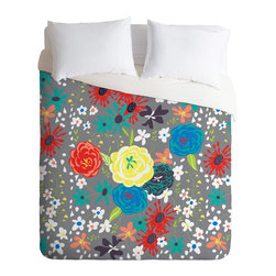 DENY Designs - Vy La Bloomimg Love Gray Duvet Cover - Turn your basic, boring down comforter into the super stylish focal point of your bedroom. Our Luxe Duvet is made from a heavy-weight luxurious woven polyester with a 50% cotton/50% polyester cream bottom. It also includes a hidden zipper with interior corner ties to secure your comforter. it's comfy, fade-resistant, and custom printed for each and every customer.