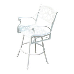 Home Styles - Home Styles Biscayne Bar Stool in White - Home Styles - Outdoor Bar Stools Patio Barstools - 555289 - Create an intimate conversation area with Home Styles' Outdoor Stools. Constructed of cast aluminum in a UV resistant powder coated White finish the Bar Stool features a seat designed specifically to prevent damage caused from pooling by allowing water to pass through freely. Adjustable nylon glides prevent damage to surfaces caused by movement and provide stability on uneven surfaces.
