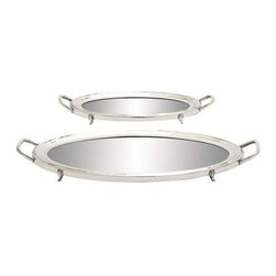 Benzara - Traditional Inspired Stainless Steel Mirror Tray Set of Two - Traditional inspired stainless steel mirror tray set of two. This set of two stainless steel trays with mirrors will bring a romantic and classic touch to your home and accentuate your interior decor. Some assembly may be required.