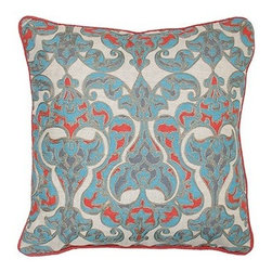 Silver Nest - Aqua Vessel Down Pillow- 18x18 - Print with Embroidery. Lined inside Front. 60% Cotton 40% Linen. Set of two pillow covers with hidden zippers. Feather inserts included. Inserts are 95/5. Priced individually, must be sold as set of 2.