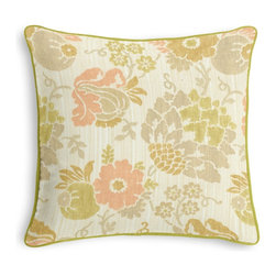 Peach & Green Stencil Floral Custom Pillow - Black and white photos, Louis XIV chairs, crown molding: classic is always classy. So it is with this long-time decorator's favorite: the Corded Throw Pillow.  We love it in this feminine stenciled floral in pastel peach, green & taupe on a softly heathered linen ground. so serene, you'll want to relax & smell the flowers.