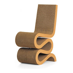 Wiggle Side Chair by Vitra | CA Modern Home - A starchitect (Frank Gehry), corrugated cardboard, and sinuous wiggles - what more could you ask for in a chair? The Wiggle chair is a sculptural modern icon. I just don't recommend it if you have cats.