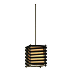 "Nova - Traditional Nova Kimora 7"" Wide Pendant Chandelier - This contemporary pendant chandelier comes from the exciting designers at Nova Lighting. The Kimora features a slatted design in a dark brown wood finish. Brushed nickel accents and a tan linen square shade complete the look. Dark brown wood finish. Brushed nickel accents. Tan linen shade. Takes one 60 watt candelabra bulb (not included). 33"" high. Shade is 7"" wide 7"" high 7"" deep.  Dark brown wood finish.   Brushed nickel accents.   Tan linen shade.   A Nova Lighting pendant chandelier design.  Takes one 60 watt candelabra bulb (not included).   33"" high.   Shade is 7"" wide 7"" high 7"" deep."