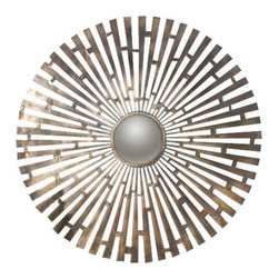 Uttermost Tremeca Brass Starburst Mirror - Hand forged heavy metal finished in plated brushed brass with light antiquing and a center convex mirror. Hand forged metal finished in plated, brushed brass with light antiquing and a center convex mirror.